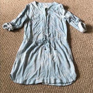 Lou & Grey blue patterned long sleeve dress